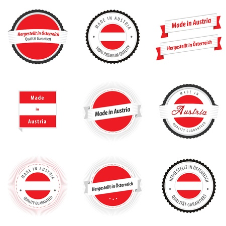 Made in Austria labels, badges and stickers