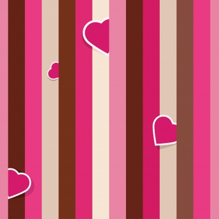Striped pink seamless background pattern with hearts Stock Vector - 17323682