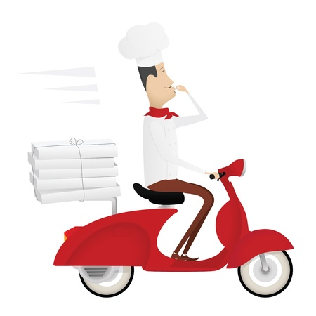 courier service: Funny italian chef delivering pizza on red moped