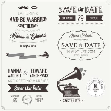 Conjunto de invitación de la boda del vintage elementos tipográficos de diseño Ilustración de vector