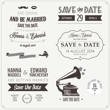 date stamp: Set of wedding invitation vintage typographic design elements