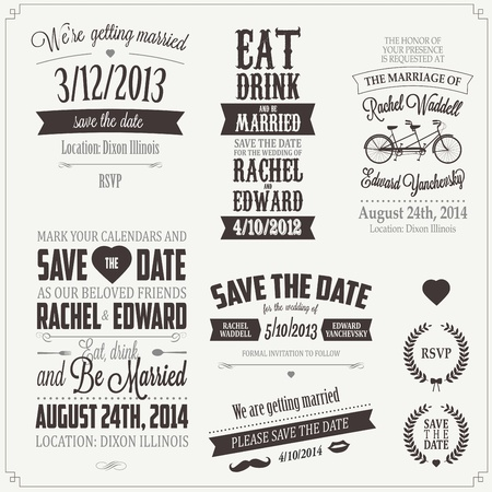 typographic: Set of wedding invitation vintage typographic design elements