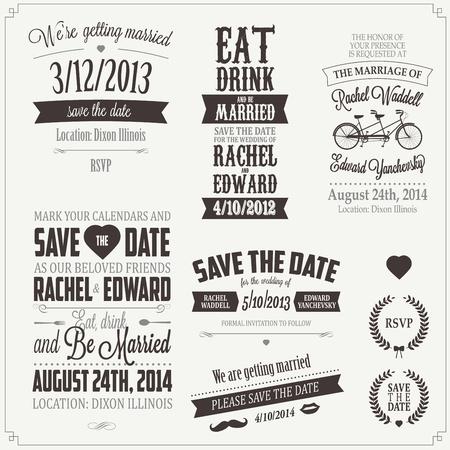 đám cưới: Tập hợp các lời mời đám cưới yếu tố thiết kế chính tả cổ điển Hình minh hoạ