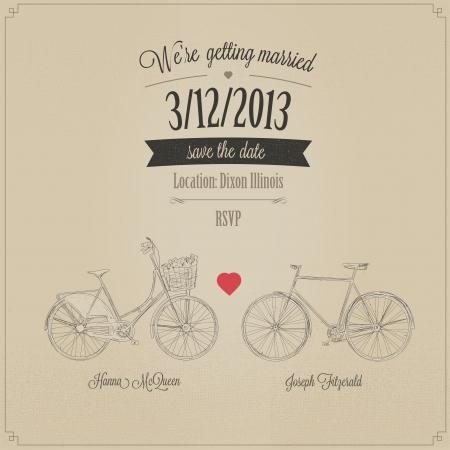 inbjudan: Grunge retro bröllopinbjudan med tandem vintage cyklar Illustration