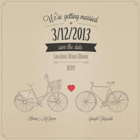 Tandem: Grunge retro wedding invitation with tandem vintage bicycles Illustration