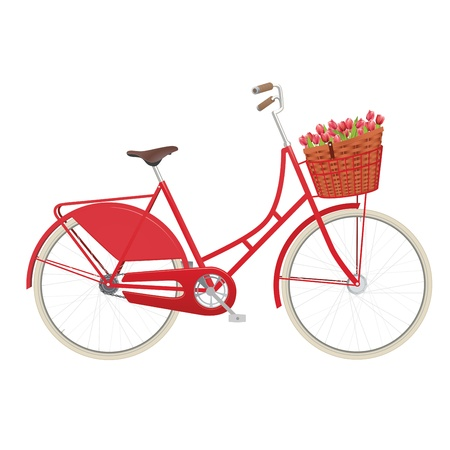 pink bike: Vintage ladies bicycle with wicker basket filled with tulips Illustration