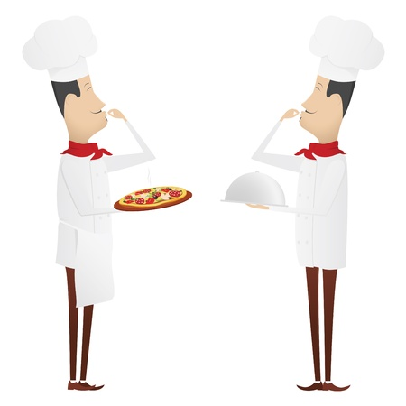 Two gourmet chefs - first with silver platter, second with pizza Vector