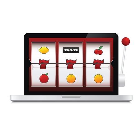 slots: Imagen abstracta de la computadora port�til de la m�quina tragaperras del casino en l�nea