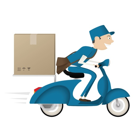 corriere: Divertente postino consegna pacchetto su scooter blu isolato su sfondo bianco Vettoriali