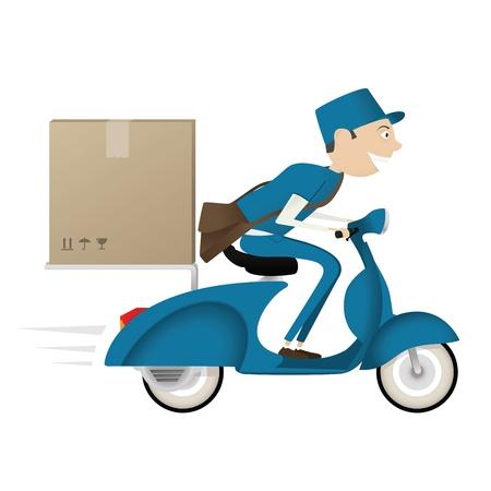 cartero: Divertido cartero entrega de paquete en moto azul aislado sobre fondo blanco Vectores