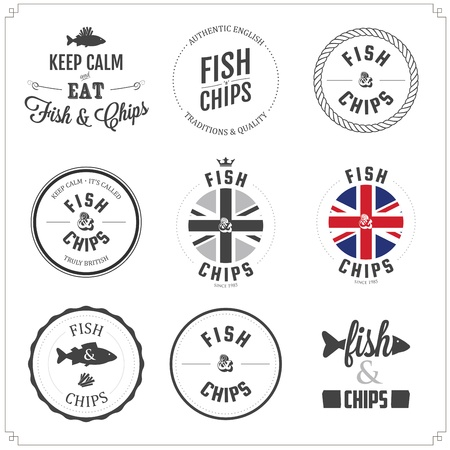 fish chips: Conjunto de etiquetas Fish and Chips y tarjetas