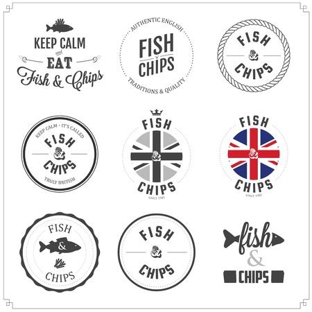 fish and chips: Conjunto de etiquetas Fish and Chips y tarjetas