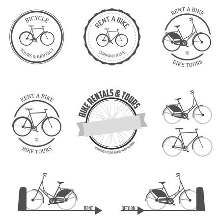 Conjunto de alquilar una bicicleta de etiquetas, insignias y elementos de diseño