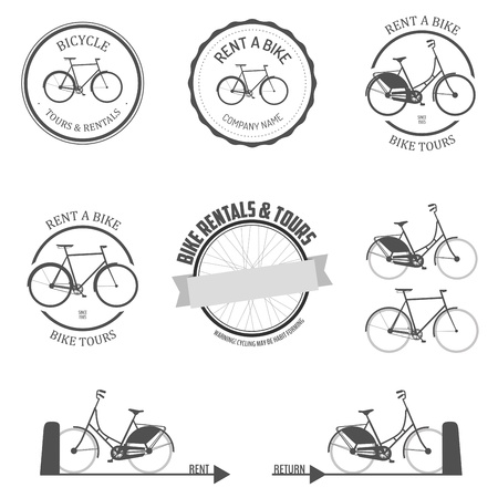 bicycle icon: Set of rent a bike labels, badges and design elements Illustration