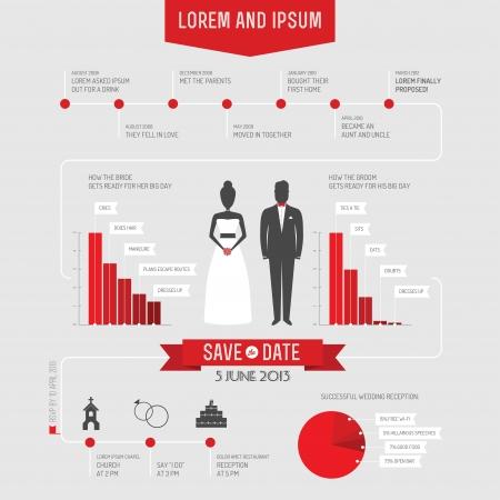 Grappig infographics stijl bruiloft uitnodiging Stock Illustratie