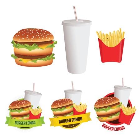 Fastfood hamburger, frietjes en drinken met 3 menulabels