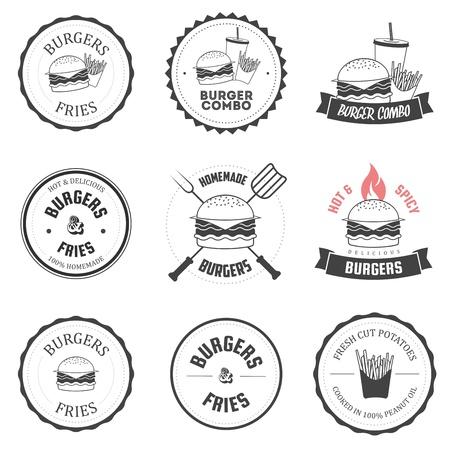 papas fritas: Conjunto de hamburguesa y patatas fritas restaurante etiquetas, insignias y elementos de men� de dise�o