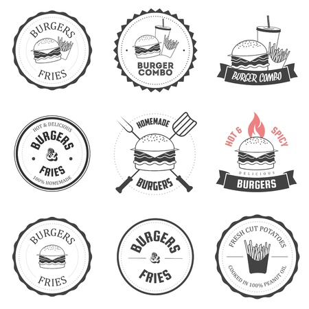 Set of burger and fries restaurant labels, badges and menu design elements Vector