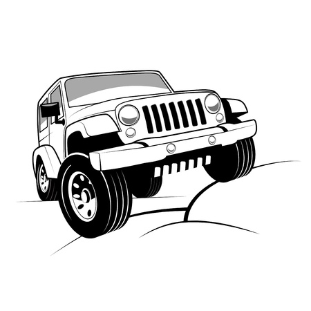off road: Monochrome detailed cartoon off-road car climbing rocks