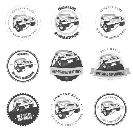 Monochroom off-road avonturen etiketten en insignes Stock Illustratie