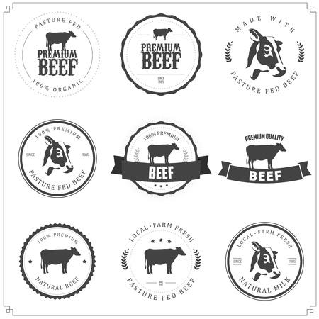 Conjunto de etiquetas de carne de vacuno de primera calidad, insignias y elementos de diseño Ilustración de vector