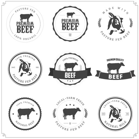 rind: Set Premium Rindfleisch Etiketten, Abzeichen und Design-Elemente