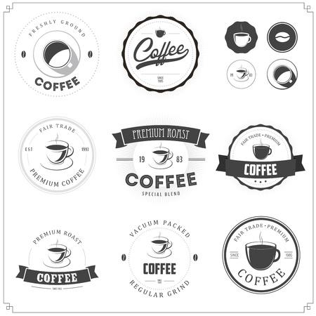 ruban noir: Jeu de café à thème étiquettes monochromes