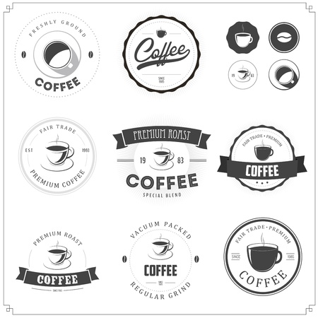 Set of coffee themed monochrome labels Illustration