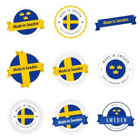 bandera de suecia: Conjunto de etiquetas Made in Sweden y cintas