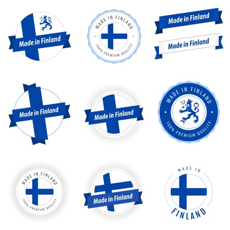 finland: Set of Made in Finland labels and ribbons
