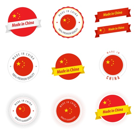 Set of Made in China labels and ribbons Stock Vector - 17917685