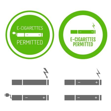 sigaretta: Sigarette elettroniche permesse segno con set di icone Vettoriali