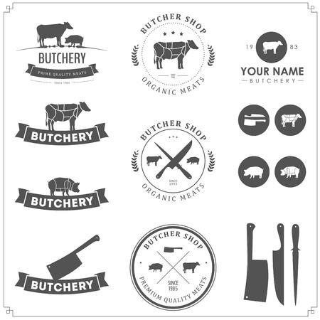 carnicero: Conjunto de etiquetas carnicería y elementos de diseño Vectores