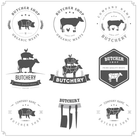 meat knife: Set of butcher shop labels and design elements
