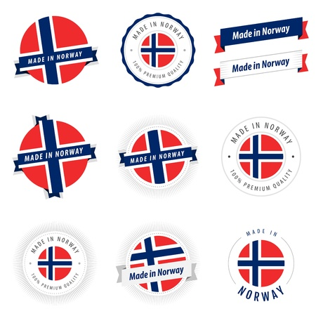 norwegian flag: Set of Made in Norway labels and ribbons Illustration