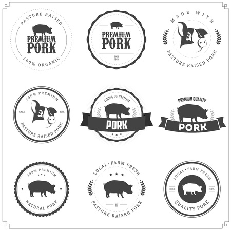c�telette de porc: Jeu de prime �tiquettes de viande de porc Illustration