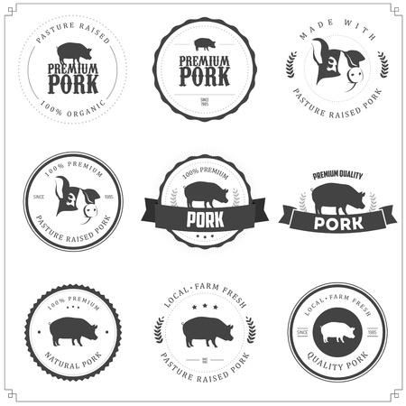 Set van premium varkensvlees labels