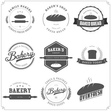 Set van vintage bakkerij labels en design-elementen Stock Illustratie
