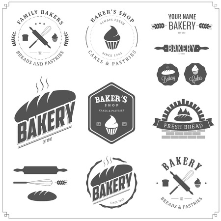 battledore: Set of bakery labels and design elements