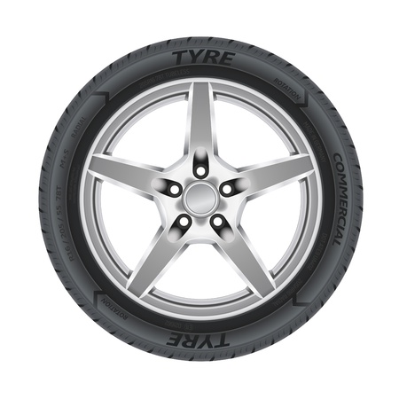 Detailed illustration of alloy car wheel with a tire