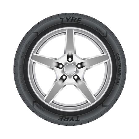 cerchione: Illustrazione dettagliata di auto ruota in lega con pneumatici Vettoriali