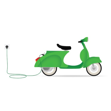electric vehicle: Vintage styled electric moped charging with a cable Illustration