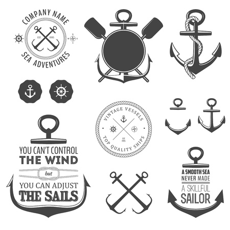 old boat: Set of vintage nautical labels, icons and design elements