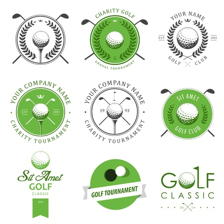 pelota de golf: Conjunto de etiquetas y emblemas del club de golf Vectores