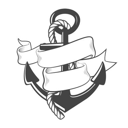 ruban noir: Ancre nautique avec de la corde et du ruban Illustration