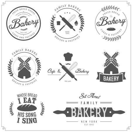Conjunto de etiquetas de panadería, insignias y elementos de diseño