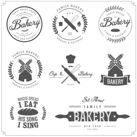 bakery sign: Conjunto de etiquetas de panader�a, insignias y elementos de dise�o Vectores