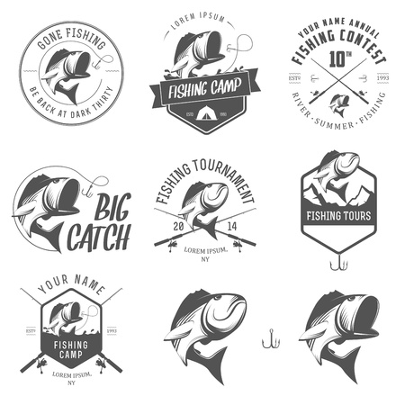 fishing hook: Set di etichette di pesca d'epoca, distintivi ed elementi di design