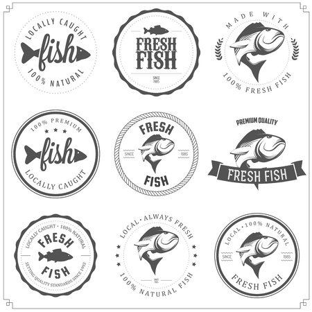 pesca: Conjunto de hecho con los sellos de pescado, etiquetas y escudos Vectores