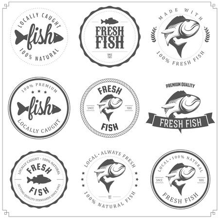 vis: Set van gemaakt met vis stempels, etiketten en insignes